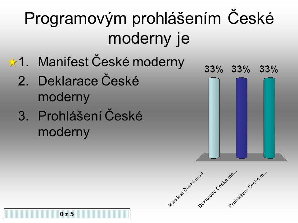 Česká moderna sdružovala autory stejného uměleckého zaměření. Souhlasíte 1.Ano 2.Ne 0 z 5