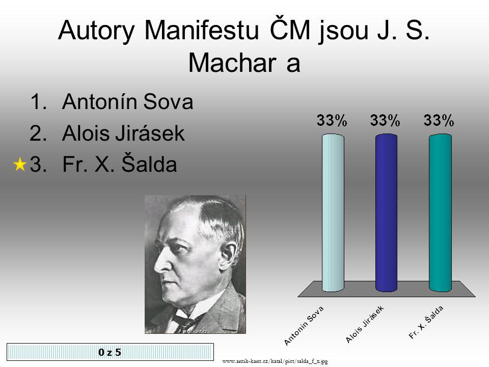 Autory Manifestu ČM jsou J.S. Machar a 0 z 5 1.Antonín Sova 2.Alois Jirásek 3.Fr.