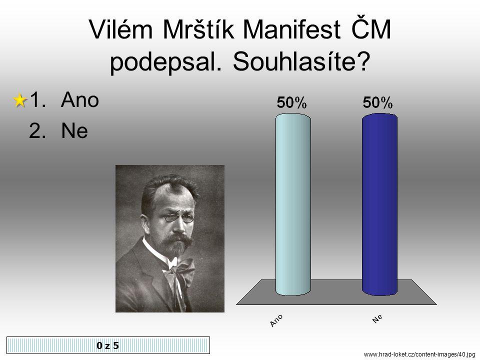 Autory Manifestu ČM jsou J. S. Machar a 0 z 5 1.Antonín Sova 2.Alois Jirásek 3.Fr.