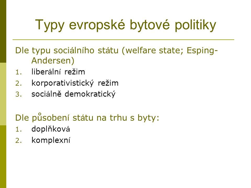 Typy evropské bytové politiky Dle typu soci á ln í ho st á tu (welfare state; Esping- Andersen) 1. liber á ln í režim 2. korporativistický režim 3. so