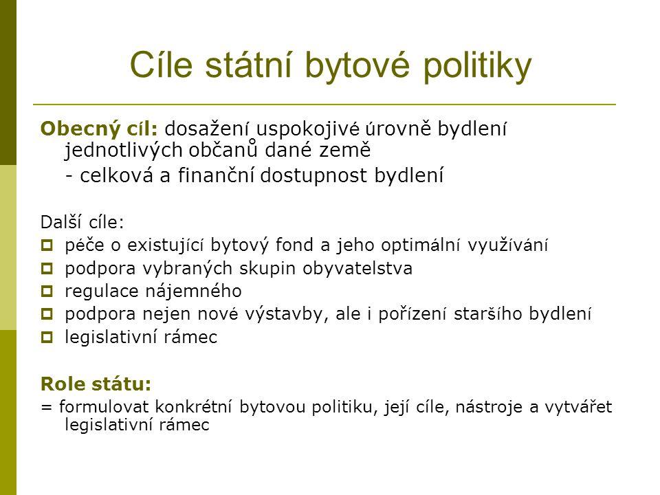 Cíle státní bytové politiky Obecný c í l: dosažen í uspokojiv é ú rovně bydlen í jednotlivých občanů dané země - celková a finanční dostupnost bydlení