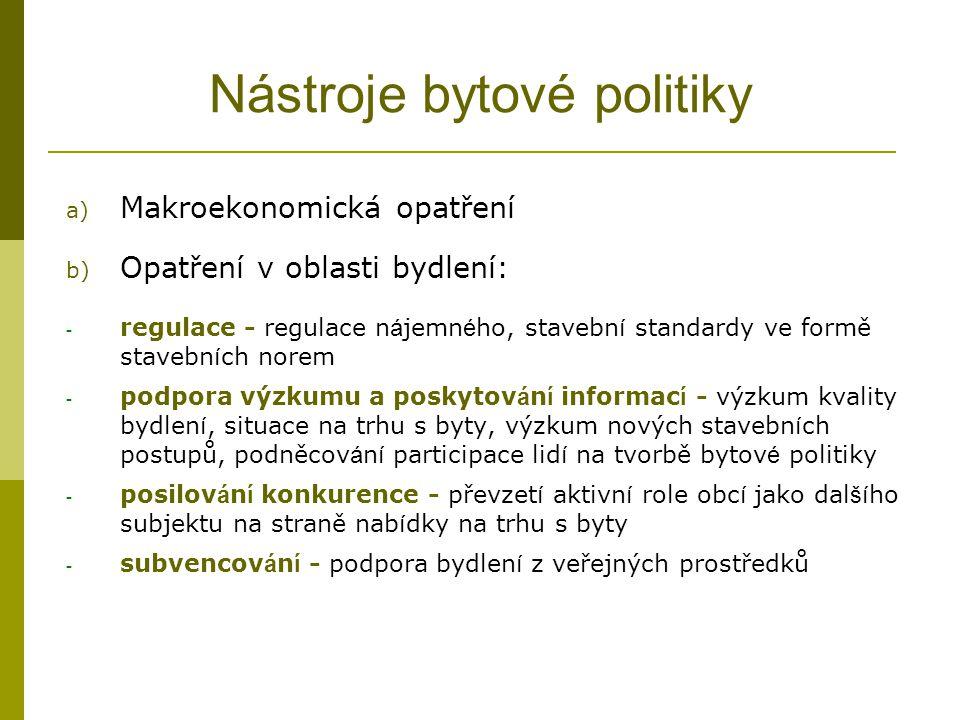 Nástroje bytové politiky a) Makroekonomická opatření b) Opatření v oblasti bydlení: - regulace - regulace n á jemn é ho, stavebn í standardy ve formě