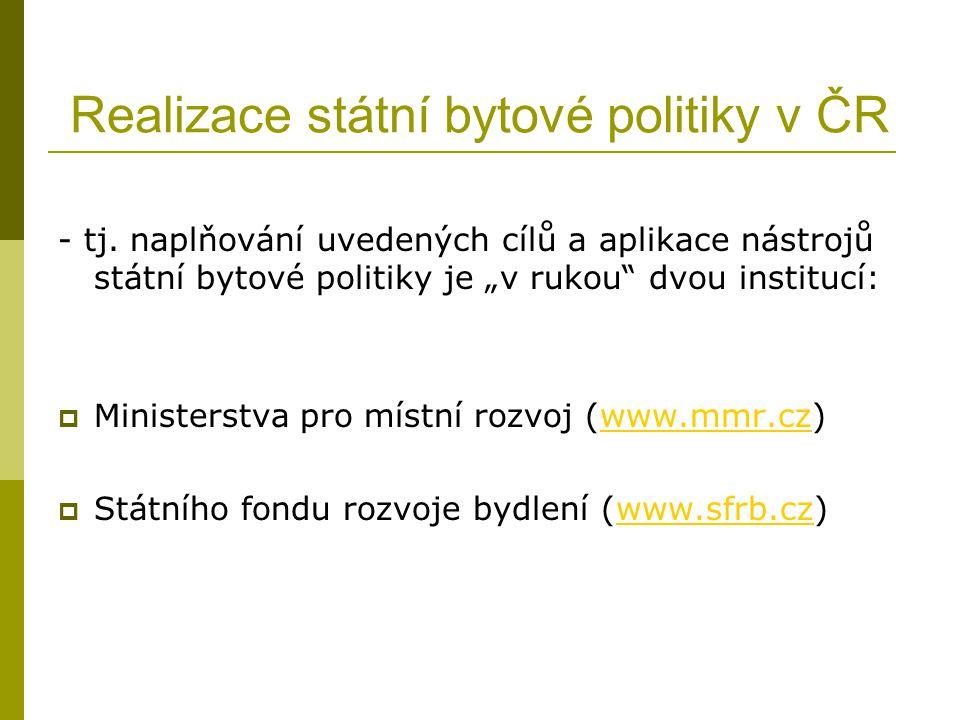 Realizace státní bytové politiky v ČR - tj.