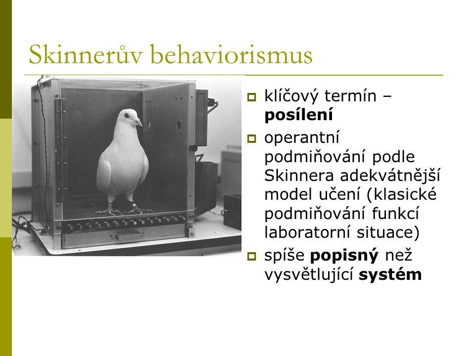Skinnerův behaviorismus  klíčový termín – posílení  operantní podmiňování podle Skinnera adekvátnější model učení (klasické podmiňování funkcí labor