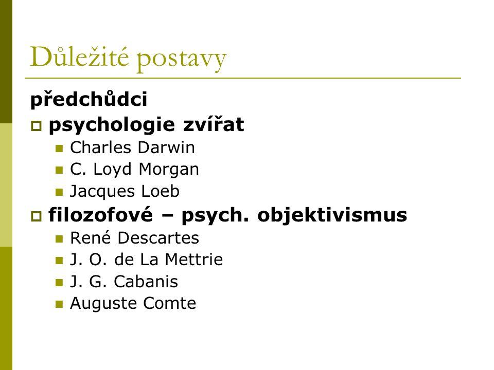 Důležité postavy předchůdci  psychologie zvířat Charles Darwin C. Loyd Morgan Jacques Loeb  filozofové – psych. objektivismus René Descartes J. O. d
