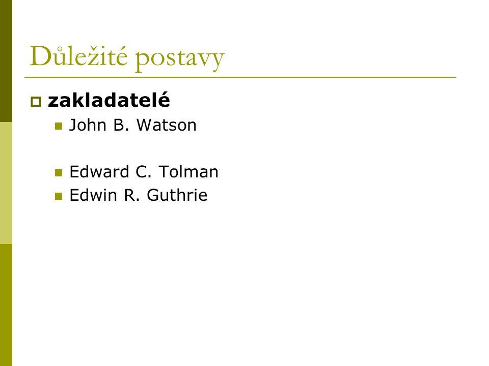 Důležité postavy  zakladatelé John B. Watson Edward C. Tolman Edwin R. Guthrie