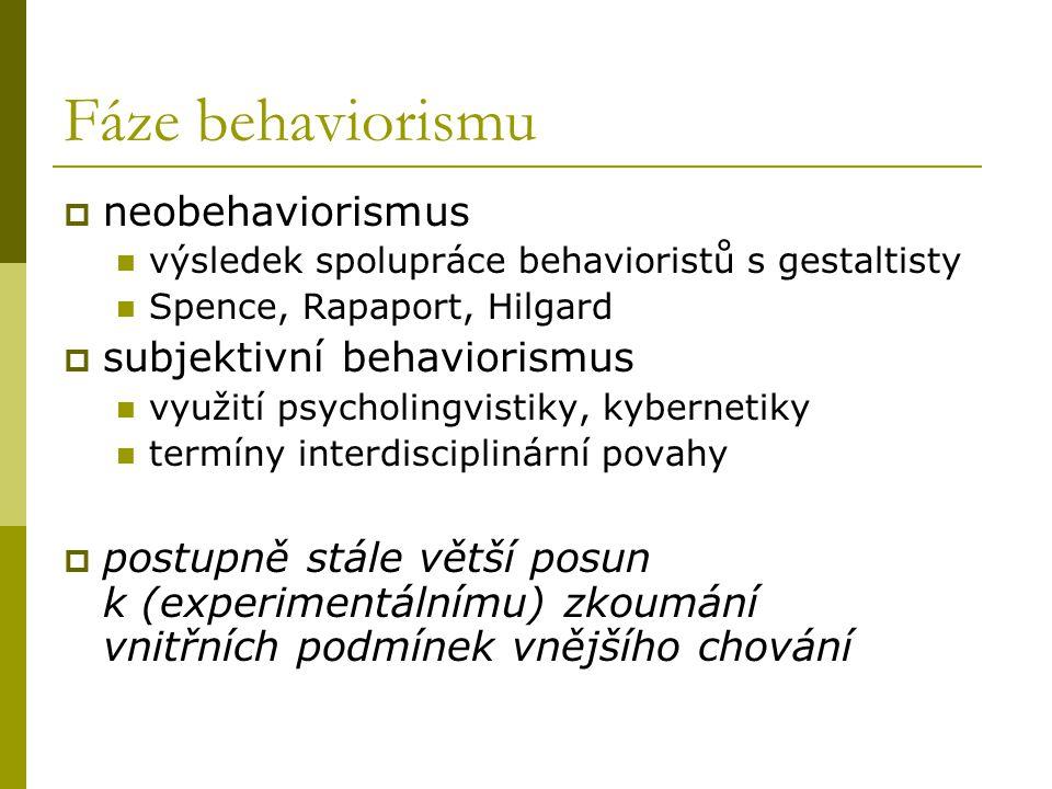 Fáze behaviorismu  neobehaviorismus výsledek spolupráce behavioristů s gestaltisty Spence, Rapaport, Hilgard  subjektivní behaviorismus využití psyc