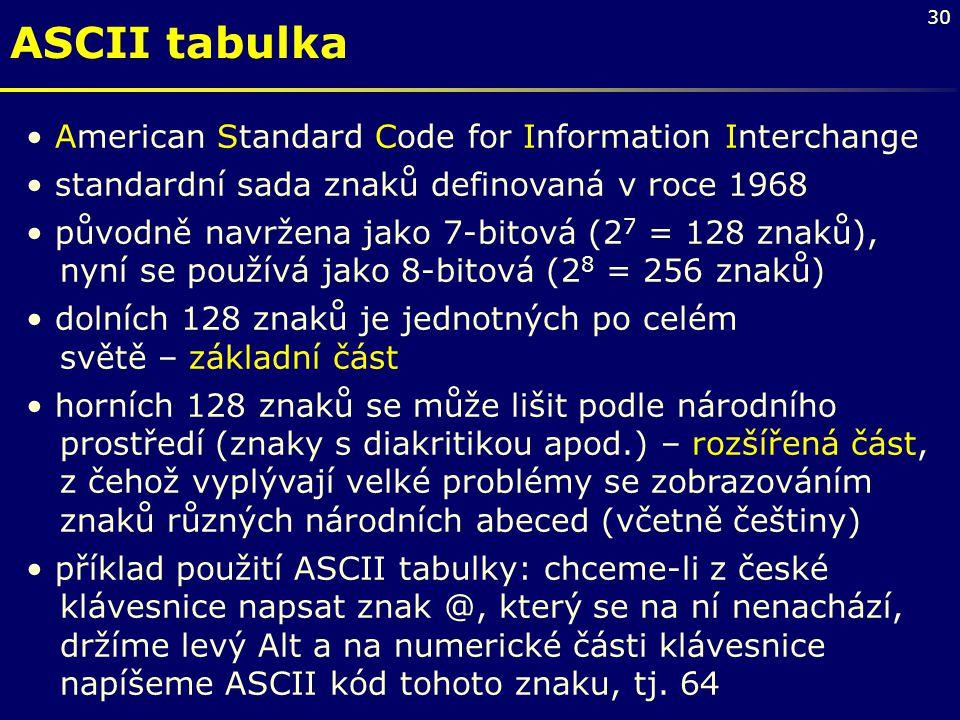 30 ASCII tabulka American Standard Code for Information Interchange standardní sada znaků definovaná v roce 1968 původně navržena jako 7-bitová (2 7 =