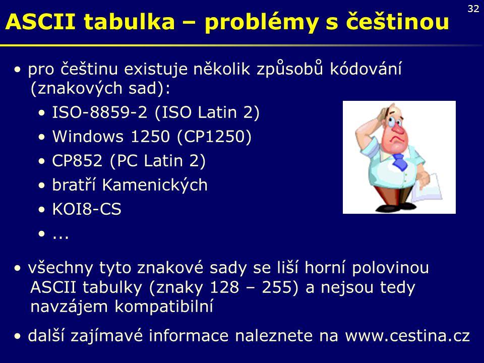 32 ASCII tabulka – problémy s češtinou pro češtinu existuje několik způsobů kódování (znakových sad): ISO-8859-2 (ISO Latin 2) Windows 1250 (CP1250) C