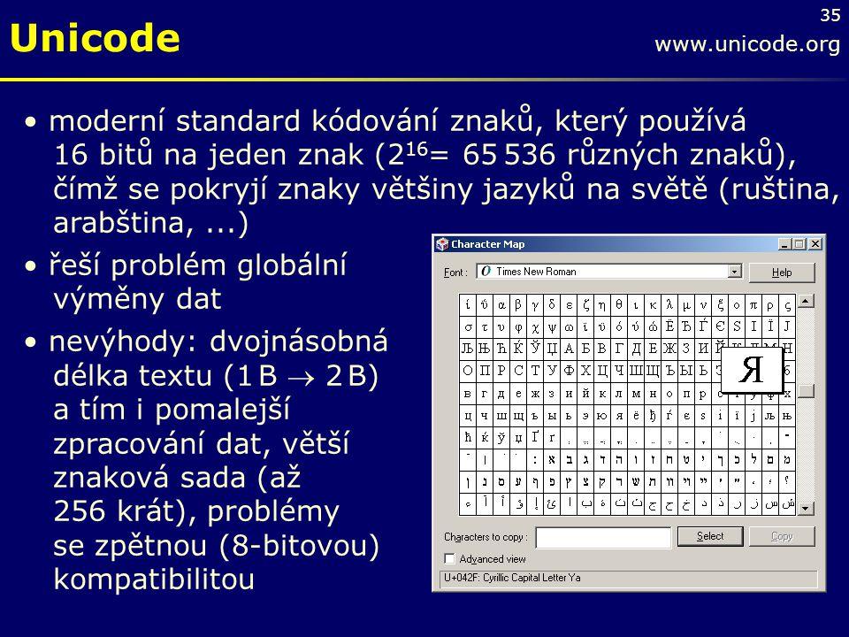 35 Unicode www.unicode.org moderní standard kódování znaků, který používá 16 bitů na jeden znak (2 16 = 65 536 různých znaků), čímž se pokryjí znaky v