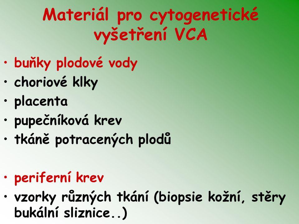 Materiál pro cytogenetické vyšetření VCA buňky plodové vody choriové klky placenta pupečníková krev tkáně potracených plodů periferní krev vzorky různ