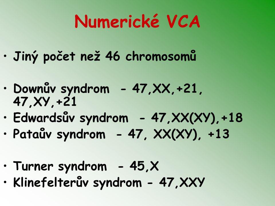 Numerické VCA Jiný počet než 46 chromosomů Downův syndrom - 47,XX,+21, 47,XY,+21 Edwardsův syndrom - 47,XX(XY),+18 Pataův syndrom - 47, XX(XY), +13 Tu