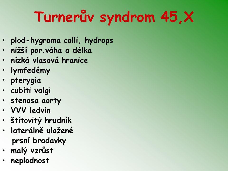 Turnerův syndrom 45,X plod-hygroma colli, hydrops nižší por.váha a délka nízká vlasová hranice lymfedémy pterygia cubiti valgi stenosa aorty VVV ledvi