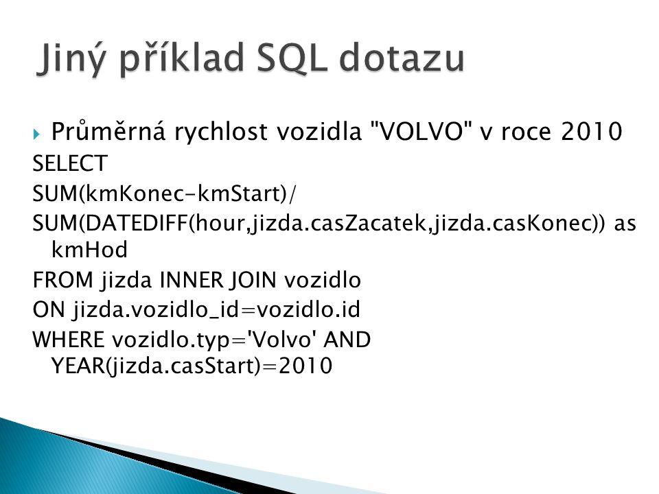  Průměrná rychlost vozidla VOLVO v roce 2010 SELECT SUM(kmKonec-kmStart)/ SUM(DATEDIFF(hour,jizda.casZacatek,jizda.casKonec)) as kmHod FROM jizda INNER JOIN vozidlo ON jizda.vozidlo_id=vozidlo.id WHERE vozidlo.typ= Volvo AND YEAR(jizda.casStart)=2010