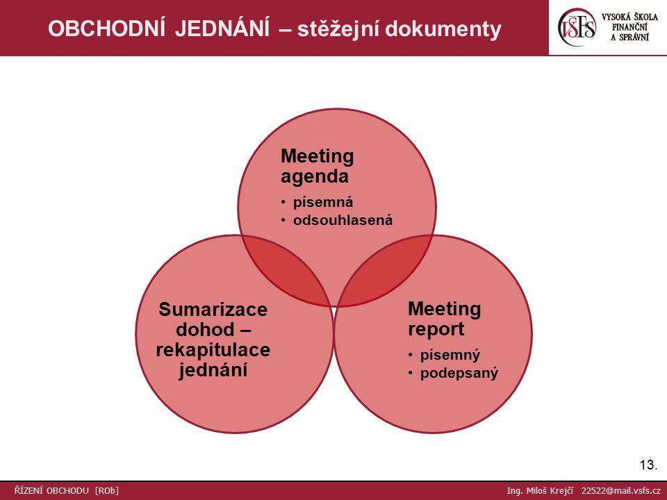 Meeting agenda písemná odsouhlasená Meeting report písemný podepsaný Sumarizace dohod – rekapitulace jednání 13.