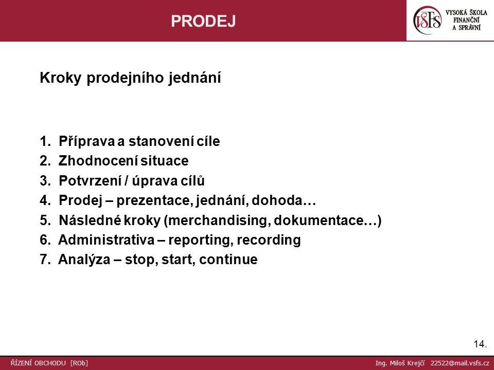 14. ŘÍZENÍ OBCHODU [ROb] Ing. Miloš Krejčí 22522@mail.vsfs.cz PRODEJ Kroky prodejního jednání 1.