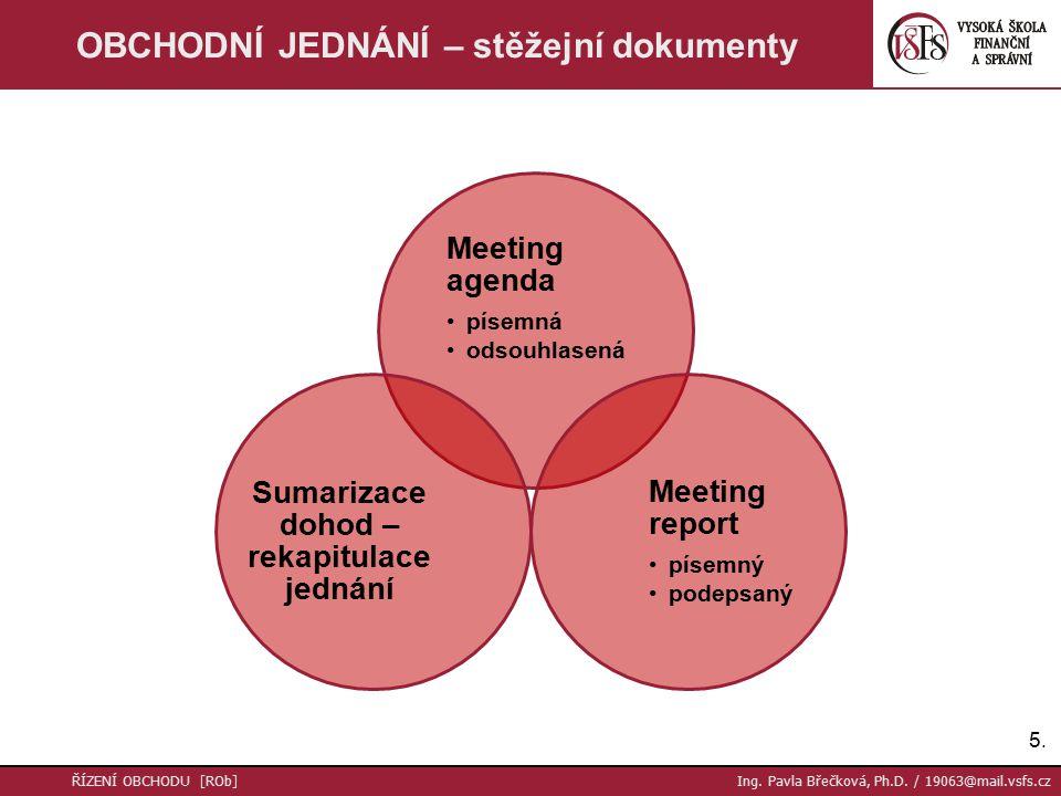 Meeting agenda písemná odsouhlasená Meeting report písemný podepsaný Sumarizace dohod – rekapitulace jednání 5.5.