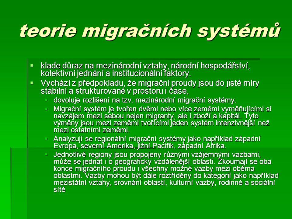 teorie migračních systémů  klade důraz na mezinárodní vztahy, národní hospodářství, kolektivní jednání a institucionální faktory.