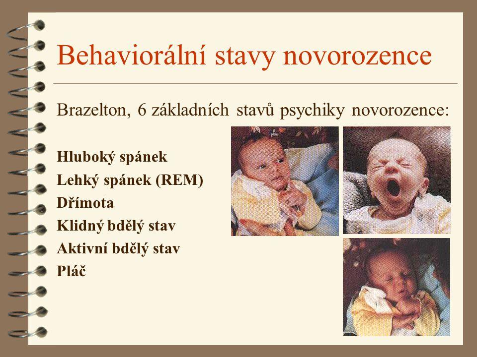 Behaviorální stavy novorozence Brazelton, 6 základních stavů psychiky novorozence: Hluboký spánek Lehký spánek (REM) Dřímota Klidný bdělý stav Aktivní bdělý stav Pláč