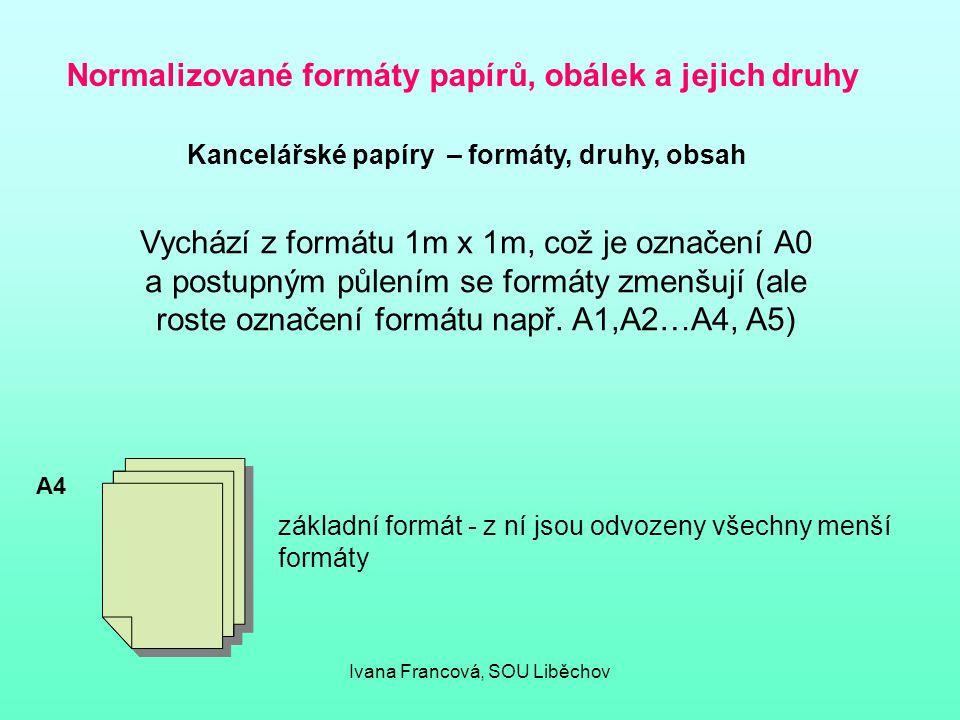 Normalizované formáty papírů, obálek a jejich druhy Kancelářské papíry – formáty, druhy, obsah Vychází z formátu 1m x 1m, což je označení A0 a postupn