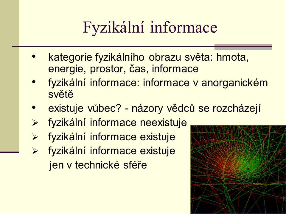 Fyzikální informace kategorie fyzikálního obrazu světa: hmota, energie, prostor, čas, informace fyzikální informace: informace v anorganickém světě existuje vůbec.