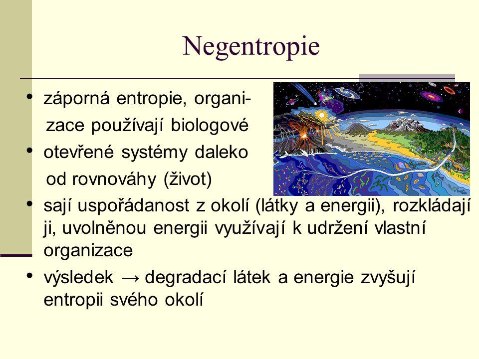 Negentropie záporná entropie, organi- zace používají biologové otevřené systémy daleko od rovnováhy (život) sají uspořádanost z okolí (látky a energii), rozkládají ji, uvolněnou energii využívají k udržení vlastní organizace výsledek → degradací látek a energie zvyšují entropii svého okolí