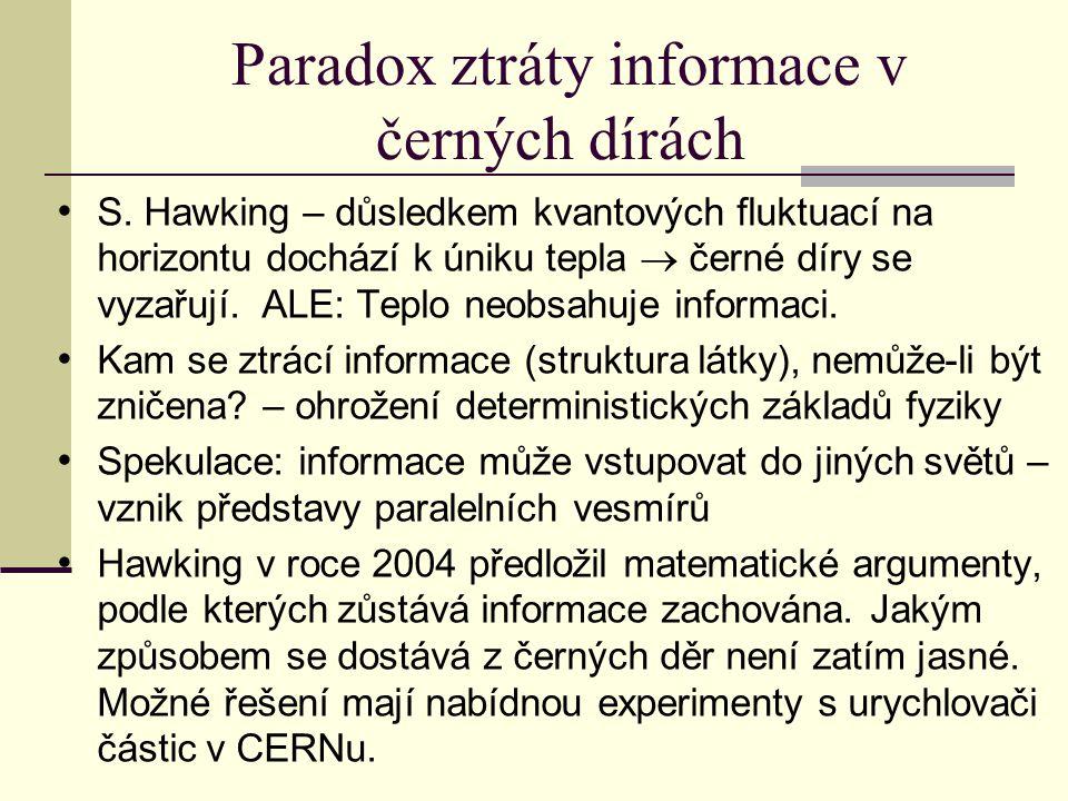 Paradox ztráty informace v černých dírách S.