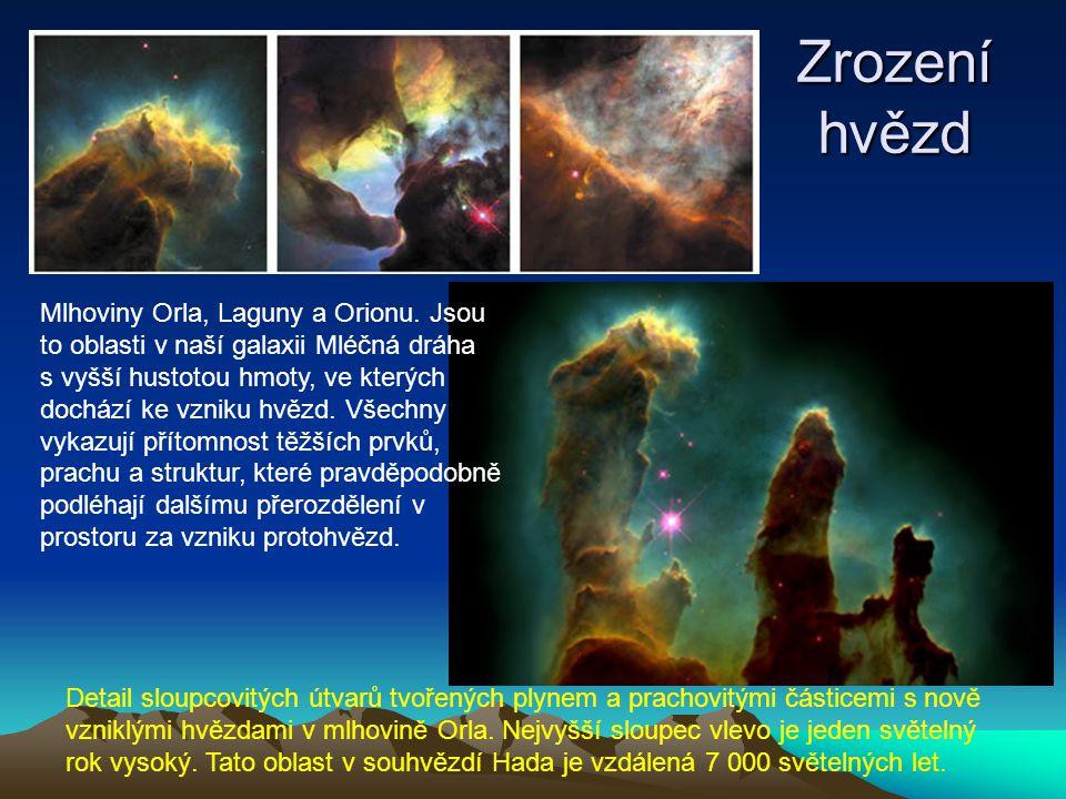 Zrození hvězd Mlhoviny Orla, Laguny a Orionu.