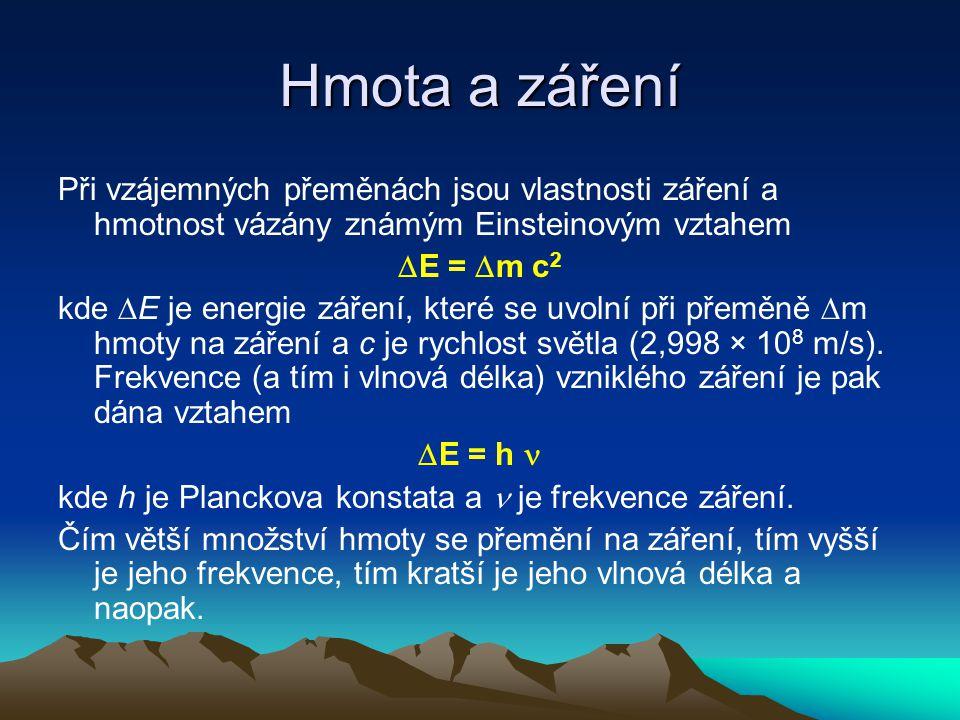 Hmota a záření Při vzájemných přeměnách jsou vlastnosti záření a hmotnost vázány známým Einsteinovým vztahem  E =  m c 2 kde  E je energie záření, které se uvolní při přeměně  m hmoty na záření a c je rychlost světla (2,998 × 10 8 m/s).