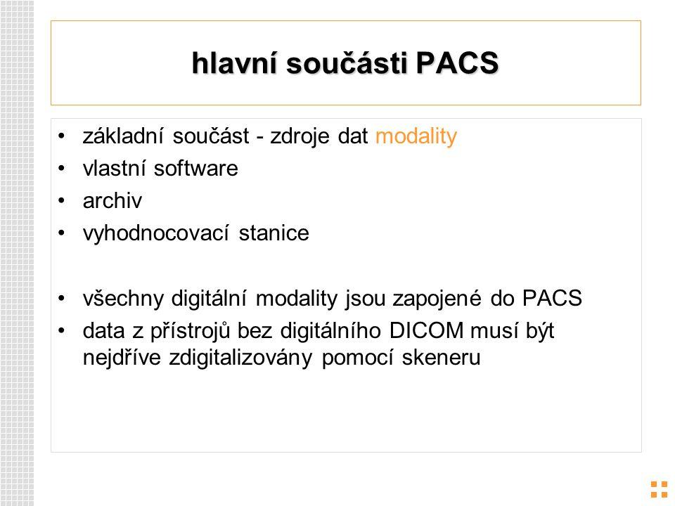 hlavní součásti PACS základní součást - zdroje dat modality vlastní software archiv vyhodnocovací stanice všechny digitální modality jsou zapojené do