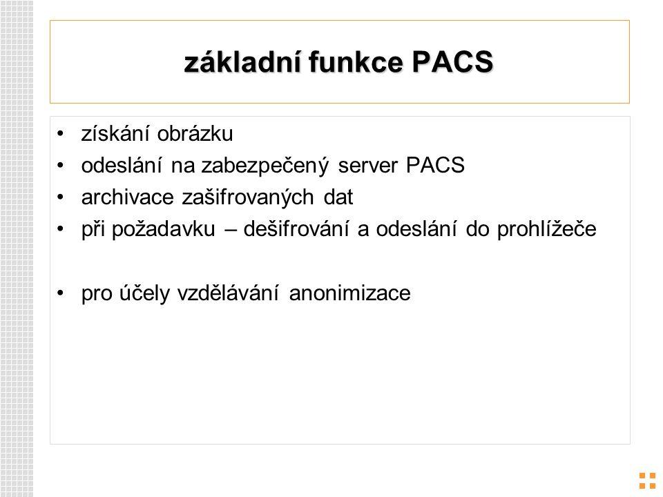 základní funkce PACS získání obrázku odeslání na zabezpečený server PACS archivace zašifrovaných dat při požadavku – dešifrování a odeslání do prohlíž