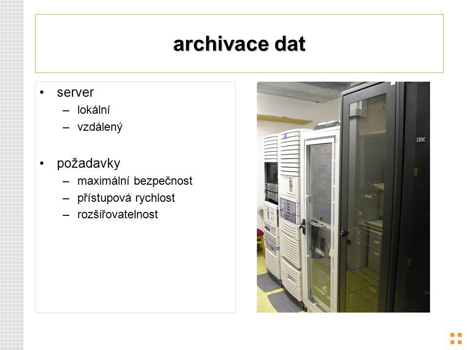 archivace dat server –lokální –vzdálený požadavky –maximální bezpečnost –přístupová rychlost –rozšiřovatelnost