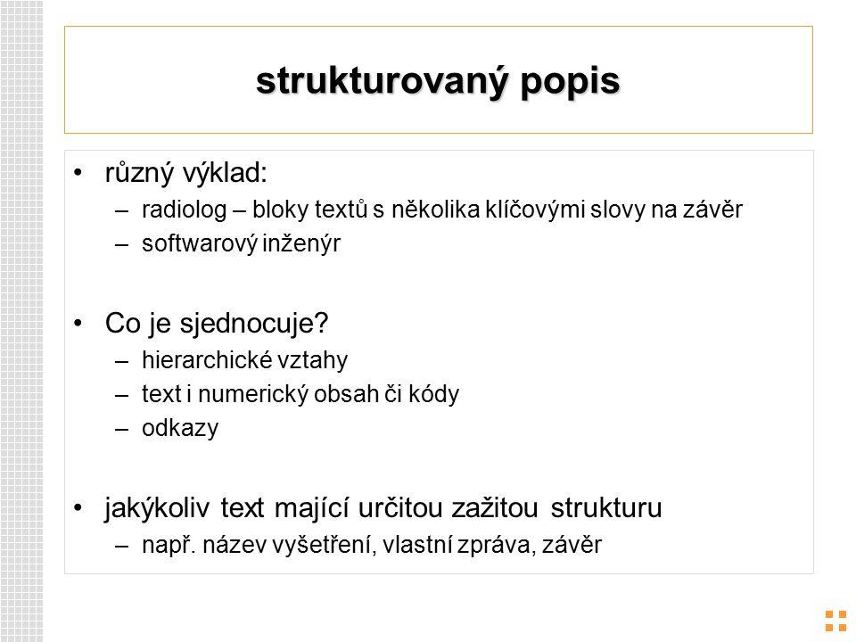 strukturovaný popis různý výklad: –radiolog – bloky textů s několika klíčovými slovy na závěr –softwarový inženýr Co je sjednocuje? –hierarchické vzta