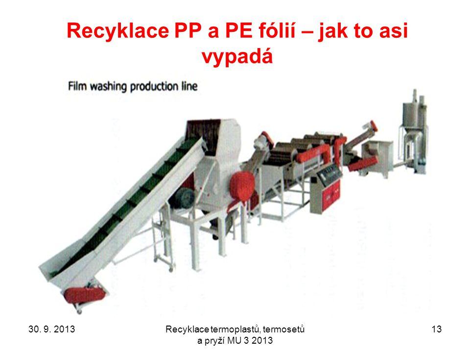 Recyklace termoplastů, termosetů a pryží MU 3 2013 13 Recyklace PP a PE fólií – jak to asi vypadá