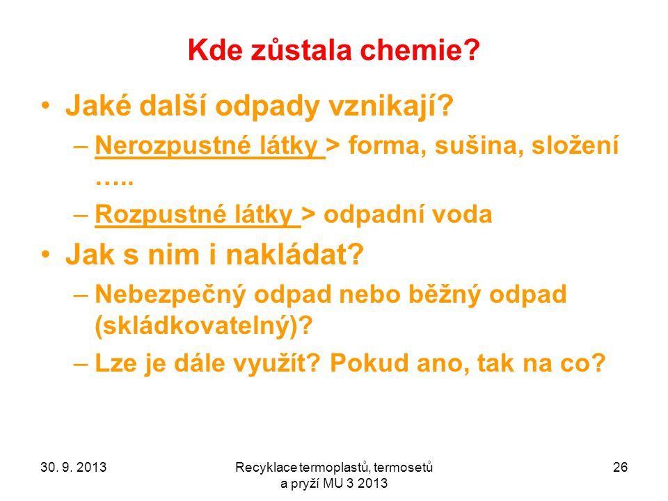 Kde zůstala chemie? Jaké další odpady vznikají? –Nerozpustné látky > forma, sušina, složení ….. –Rozpustné látky > odpadní voda Jak s nim i nakládat?