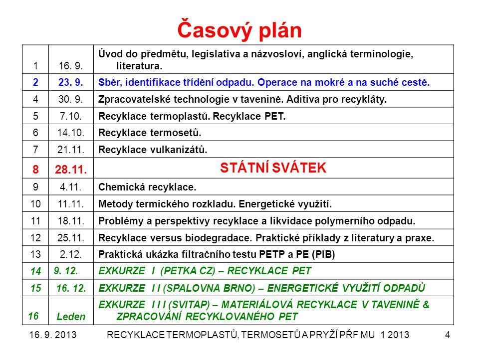 Recyklace termoplastů, termosetů a pryží MU 3 2013 530. 9. 2013