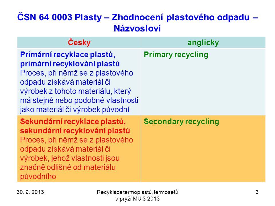 ČSN 64 0003 Plasty – Zhodnocení plastového odpadu – Názvosloví Českyanglicky Primární recyklace plastů, primární recyklování plastů Proces, při němž se z plastového odpadu získává materiál či výrobek z tohoto materiálu, který má stejné nebo podobné vlastnosti jako materiál či výrobek původní Primary recycling Sekundární recyklace plastů, sekundární recyklování plastů Proces, při němž se z plastového odpadu získává materiál či výrobek, jehož vlastnosti jsou značně odlišné od materiálu původního Secondary recycling Recyklace termoplastů, termosetů a pryží MU 3 2013 630.