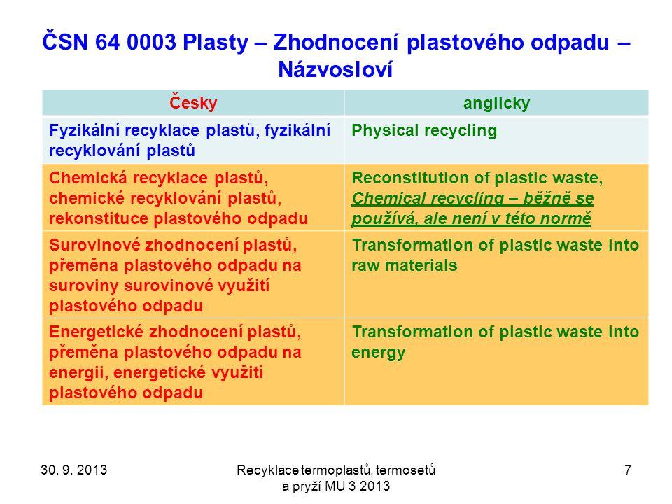 ČSN 64 0003 Plasty – Zhodnocení plastového odpadu – Názvosloví Českyanglicky Fyzikální recyklace plastů, fyzikální recyklování plastů Physical recycli