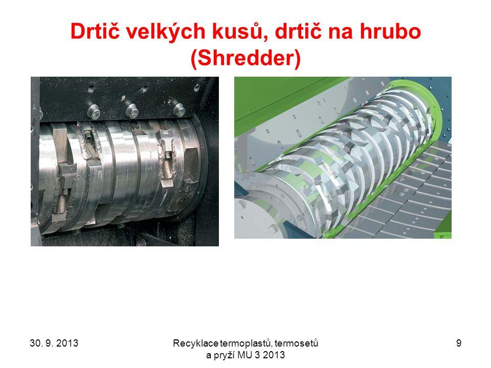 Mlýny (granulátory) Recyklace termoplastů, termosetů a pryží MU 3 2013 10 ZÁKLADNÍ RYSY: vstup nemusejí být štěpky, ale přímo výrobky (odpad) MÁ tzv.