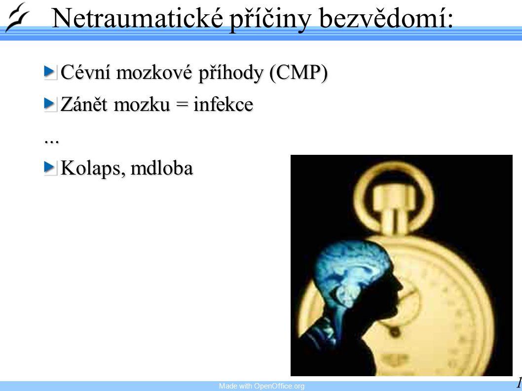 Made with OpenOffice.org 11 Netraumatické příčiny bezvědomí: Cévní mozkové příhody (CMP) Zánět mozku = infekce...