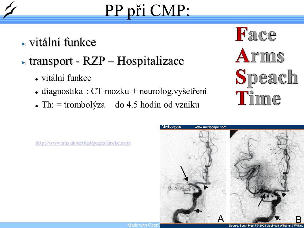 Made with OpenOffice.org 14 PP při CMP: vitální funkce transport - RZP – Hospitalizace vitální funkce diagnostika : CT mozku + neurolog.vyšetření Th: = trombolýza do 4.5 hodin od vzniku http://www.nhs.uk/actfast/pages/stroke.aspx