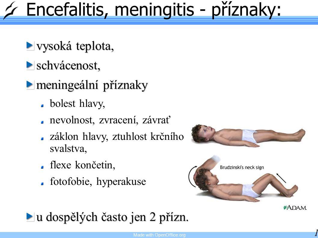 Made with OpenOffice.org 18 Encefalitis, meningitis - příznaky: vysoká teplota, schvácenost, meningeální příznaky bolest hlavy, nevolnost, zvracení, závrať záklon hlavy, ztuhlost krčního svalstva, flexe končetin, fotofobie, hyperakuse u dospělých často jen 2 přízn.