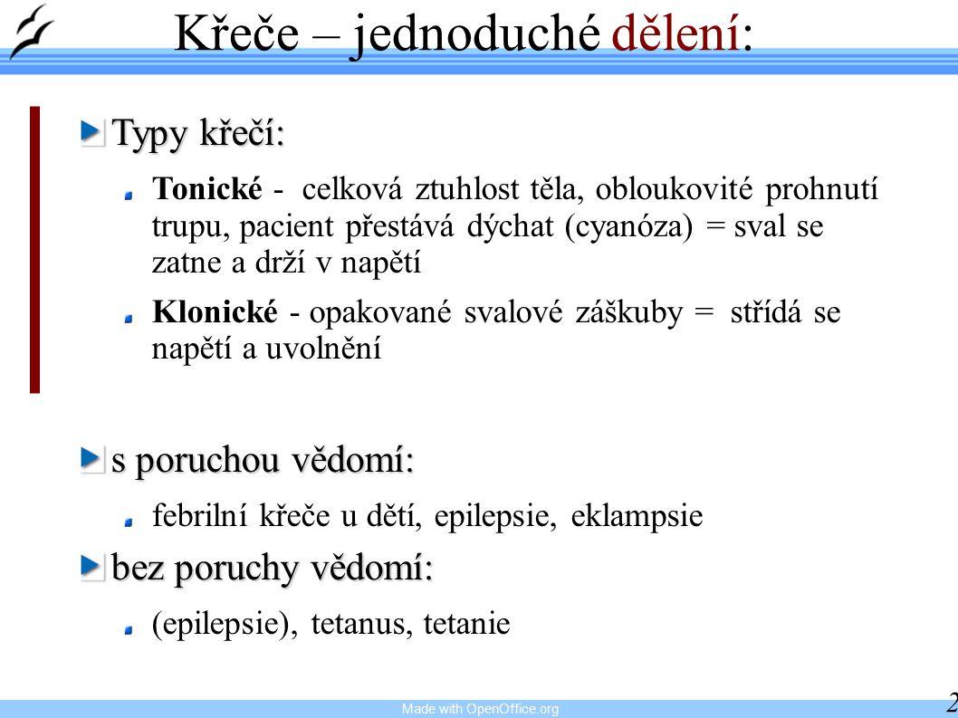 Made with OpenOffice.org 28 Křeče – jednoduché dělení: Typy křečí: Tonické - celková ztuhlost těla, obloukovité prohnutí trupu, pacient přestává dýchat (cyanóza) = sval se zatne a drží v napětí Klonické - opakované svalové záškuby = střídá se napětí a uvolnění s poruchou vědomí: febrilní křeče u dětí, epilepsie, eklampsie bez poruchy vědomí: (epilepsie), tetanus, tetanie