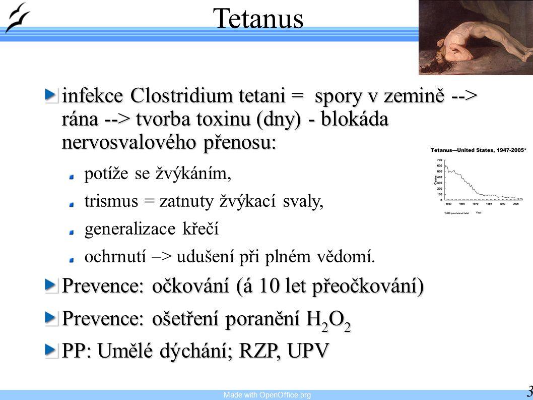 Made with OpenOffice.org 35 Tetanus infekce Clostridium tetani = spory v zemině --> rána --> tvorba toxinu (dny) - blokáda nervosvalového přenosu: potíže se žvýkáním, trismus = zatnuty žvýkací svaly, generalizace křečí ochrnutí –> udušení při plném vědomí.