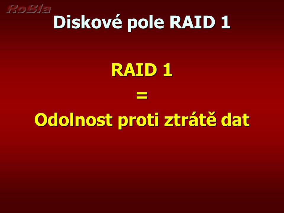 Diskové pole RAID 1 RAID 1 = Odolnost proti ztrátě dat