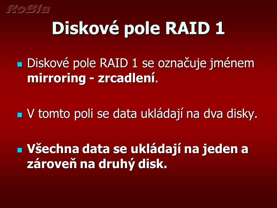 Diskové pole RAID 1 Diskové pole RAID 1 se označuje jménem mirroring - zrcadlení.