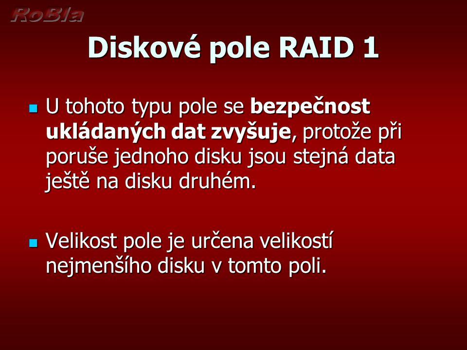 Diskové pole RAID 1 U tohoto typu pole se bezpečnost ukládaných dat zvyšuje, protože při poruše jednoho disku jsou stejná data ještě na disku druhém.