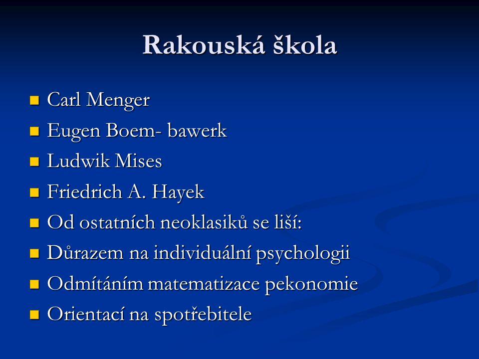 Rakouská škola Carl Menger Carl Menger Eugen Boem- bawerk Eugen Boem- bawerk Ludwik Mises Ludwik Mises Friedrich A. Hayek Friedrich A. Hayek Od ostatn