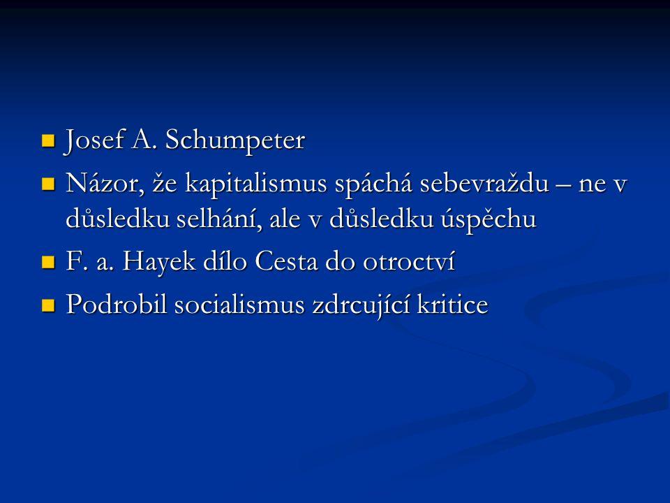 Josef A. Schumpeter Josef A. Schumpeter Názor, že kapitalismus spáchá sebevraždu – ne v důsledku selhání, ale v důsledku úspěchu Názor, že kapitalismu