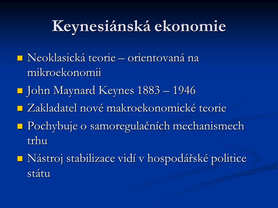 Keynesiánská ekonomie Neoklasická teorie – orientovaná na mikroekonomii Neoklasická teorie – orientovaná na mikroekonomii John Maynard Keynes 1883 – 1